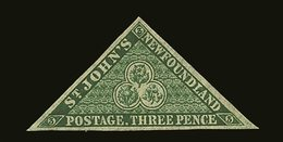 1857  3d Yellowish Green On Thick Paper, SG 3, Very Fine Mint Part Og, With Large Margins All Round. Cat £1800. For More - Newfoundland And Labrador