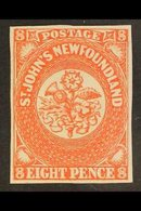 1857  8d Scarlet Vermilion, SG 8, Superb Mint Og With Good Clear Margins All Round And Lovely Rich Colour. For More Imag - Newfoundland And Labrador