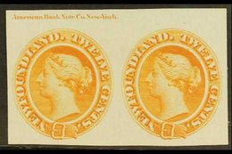 1865  12c Chestnut, As SG 28, Die Proof In Orange On Card, With ABN Imprint, Uni 28TC, Horizontal Pair, Very Fine And Fr - Newfoundland And Labrador