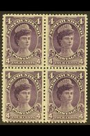 1897-1918  4c Violet Queen Mary, SG 43, A Superb Mint BLOCK OF FOUR, With The Lower Two Stamps Never Hinged. An Attracti - Newfoundland And Labrador