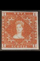 1851  1d Red Brown On Bluish Paper, SG 1, Very Fine Mint, Large Part Og. Clear To Large Margins All Round. Lovely Origin - Nova Scotia