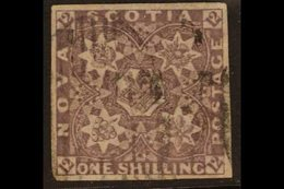 1851  1s Cold Violet, SG 7, Used With 4 Good Well- Balanced Margins. A Particularly Attractive Lightly- Cancelled Exampl - Nova Scotia