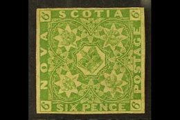1851-60  6d Yellow-green, SG 5, Unused With Good Colour, Re-backed But An Excellent Spacefiller, Cat £4750. For More Ima - Nova Scotia