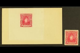 1947  1c Carmine Isidro Menendez (SG 950, Scott 596) - A DIE PROOF Affixed To Sunken Card, With American Bank Note Compa - El Salvador