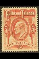 1904  5s Red, Ed VII, SG 50, Very Fine Mint. For More Images, Please Visit Http://www.sandafayre.com/itemdetails.aspx?s= - Falkland Islands