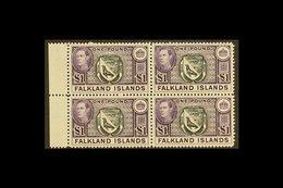 1938  £1 Black And Violet Arms, SG 163, Superb Never Hinged Mint Marginal Block Of Four. For More Images, Please Visit H - Falkland Islands