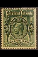 1921  3s Slate Green, Wmk Script, SG 80, Very Fine Mint. For More Images, Please Visit Http://www.sandafayre.com/itemdet - Falkland Islands