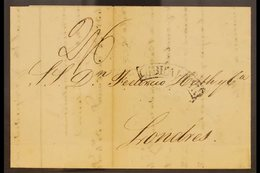 1839  (30th June) E/L To London Bearing A Manuscript Charge Of 2s6d, Curved Boxed Gibraltar, A London Triple Arc Receivi - Gibraltar