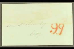 """1840  (1st July) Pre-stamp Entire From Gibraltar To Cadiz With Lovely """"9q"""" (9 Quartos) Port Payment Stamp (applied On Ar - Gibraltar"""