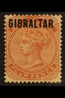 """1886  Bermuda Opt'd """"GIBRALTAR"""" 4d Orange-brown, SG 5, Light Gum Bend, Expertized By Schmidt, Fine Mint With Large Part  - Gibraltar"""