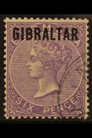 "1886  Bermuda Opt'd ""GIBRALTAR"" 6d Deep Lilac, SG 6, Very Fine Used For More Images, Please Visit Http://www.sandafayre. - Gibraltar"