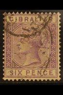 1886-87  6d Lilac, SG 13, Fine Used For More Images, Please Visit Http://www.sandafayre.com/itemdetails.aspx?s=646433 - Gibraltar
