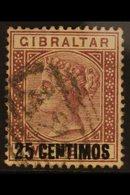 "1889  25c On 2d Brown - Purple ""BROKEN N"" Variety, SG 17b, Fine Used For More Images, Please Visit Http://www.sandafayre - Gibraltar"