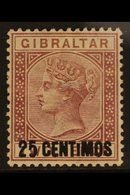 """1889  25c On 2d Brown - Purple """"SMALL I"""" Variety, SG 17ab, Very Fine Mint For More Images, Please Visit Http://www.sanda - Gibraltar"""