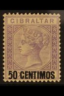 """1889  50c On 6d Lilac With """"Short Foot To 5"""" Variety, SG 20a, Fine Mint For More Images, Please Visit Http://www.sandafa - Gibraltar"""