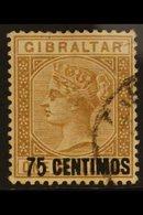 "1889  75c On 1s Bistre ""Short Foot On 5"" Variety, SG 21a, Fine Used For More Images, Please Visit Http://www.sandafayre. - Gibraltar"