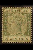 "1889-1896  5c Green ""BROKEN M"" Variety, SG 22a, Fine Used For More Images, Please Visit Http://www.sandafayre.com/itemde - Gibraltar"