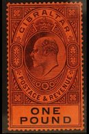 1904-08  KEVII £1 Deep Purple & Black/red, SG 64, Very Fine Lightly Hinged Mint. A Lovely Example! For More Images, Plea - Gibraltar