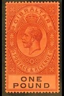 1912-24  £1 Dull Purple And Black On Red, Watermark Multi Crown CA, SG 85, Very Fine Mint. For More Images, Please Visit - Gibraltar