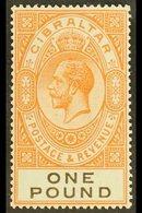 1925-32  KGV £1 Red-orange And Black, SG 107, Very Fine Mint. For More Images, Please Visit Http://www.sandafayre.com/it - Gibraltar