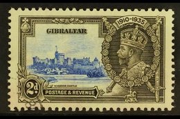 """1935  2d Ultramarine And Grey Black, Silver Jubilee, Variety """"Extra Flagstaff"""", SG 114a, Good Used But With Some Discolo - Gibraltar"""