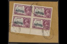 """1935 SILVER JUBILEE VARIETY  1s Slate & Purple Marginal Block Of 4 Tied To A Small Piece Bearing The """"EXTRA FLAGSTAFF"""" V - Gibraltar"""