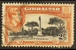 1938-51  2s Black & Brown Perf 13 BIRD ON MEMORIAL Variety, SG 128bb, Used, Pulled Corner Perf, Cat £500. For More Image - Gibraltar