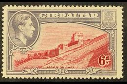1938-51  6d Carmine And Grey-violet, Perf 14, SG 126a, Very Fine Mint, Only Lightly Hinged. For More Images, Please Visi - Gibraltar