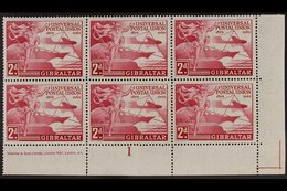 1949 UPU VARIETY - NEW DISCOVERY.  2d Carmine Universal Postal Union, SG 136, Superb Mint Lower Left Corner Plate 1 And  - Gibraltar