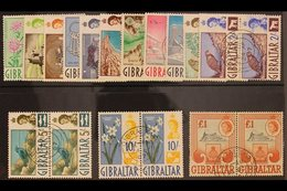1960-62  Definitives Complete Set, SG 160/73, Very Fine Used PAIRS. (14 Pairs = 28 Stamps) For More Images, Please Visit - Gibraltar