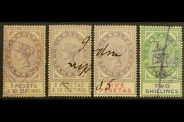 REVENUE STAMPS  1884 1p85, 2p50 And 5p (Barefoot 4/6), Plus 1898 2s (Barefoot 12), Fine Used. Nice Quality! (4 Stamps) F - Gibraltar