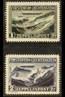 1931  Air Zeppelin Complete Set (SG 116/17, Michel 114/15), Very Fine Mint, Fresh. (2 Stamps) For More Images, Please Vi - Liechtenstein