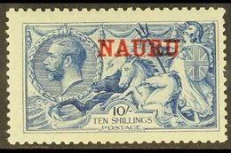 1916-23  10s Deep Bright Blue Seahorse, De La Rue Printing, SG 23d, Mint, Missing Perf At Right, Otherwise Fine. For Mor - Nauru