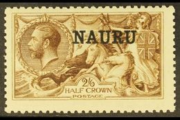 1916-23  2s6d Sepia-brown Seahorse, De La Rue Printing, SG 19, Fine Mint, Only Lightly Hinged. For More Images, Please V - Nauru