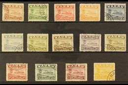 1924-34  Freighter Greyish Paper Set Complete, SG 26A/39A, Very Fine Used (2d Orange Unused). A Very Scarce Set (14 Stam - Nauru