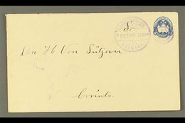 """POSTAL STATIONERY 1895  5c Blue Envelope, H&G 29, Very Fine Commercially Used With """"Granada / 30 SEP 1895"""" Duplex Cancel - Nicaragua"""