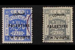 1921  10p Ultramarine And 20p Pale Grey, Overprinted Palestine In Sans-serif Letters By Somerset House, SG 69/70, Very F - Palestine