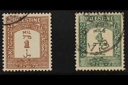 POSTAGE DUES  1928 1m Brown And 4m Green, Perf 15 X 14, SG D12a, D14a, Very Fine Used. Elusive Varieties. (2 Stamps) For - Palestine