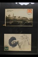 POSTAL HISTORY  Group Of Items Incl. Incoming 1910 Postcard From France With Jerusalem Arrival C.d.s., 1918 Reg'd Cover  - Palestine
