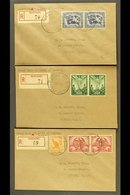 RELIEF POST OFFICES  1946 (27th May) Three Attractive Registered Covers From Madang To Sydney, Bearing Peace Set In Pair - Papouasie-Nouvelle-Guinée