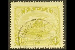 1911-15  4d Pale Olive-green, Watermark Crown To Right, SG 88w, Fine Port Moresby Cds Used. For More Images, Please Visi - Papouasie-Nouvelle-Guinée