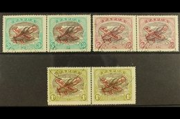 1930  Air Set, Ash Printing, SG 118-120, Each In A Horizontal Pair With One In Each Showing RIFT IN CLOUD, Fine Cds Used - Papouasie-Nouvelle-Guinée