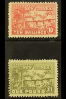 1925  10s Dull Rose And £1 Dull Olive Green, Native Village, SG 135/6, Fine And Fresh Mint. (2 Stamps) For More Images,  - Papouasie-Nouvelle-Guinée