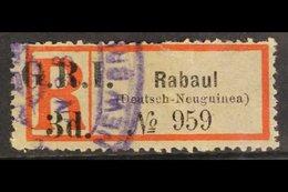 "AUSTRALIAN OCCUPATION  1915 3d ""G.R.I."" Overprint On Local RABAUL (DEUTSCH-NEUGUINEA) Registration Label, SG 33d, Used,  - Papouasie-Nouvelle-Guinée"