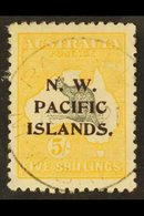 NWPI  1915-16 5s Grey & Yellow Roo Watermark W5 Overprint, SG 92, Very Fine Used With 'socked On The Nose' Rabaul Cds Ca - Papouasie-Nouvelle-Guinée