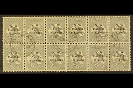 """NWPI  1918-22 2d Grey Roo Die II Overprint, SG 106a, Fine Cds Used Very Rare BLOCK Of 12 (6x2) Cancelled By """"Rabaul"""" Cds - Papouasie-Nouvelle-Guinée"""
