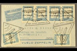 1931  Illustrated Zeppelin Stationery Air Letter To France Franked 3c On 4c Zeppelin Ovpt (2) And 4c Zeppelin Ovpt Stamp - Paraguay