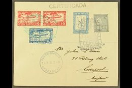 1933  Registered Cover To England Franked Paraguay Postage 4p And 50c Cancelled Map Type Graf Zeppelin Cancel With $4.50 - Paraguay