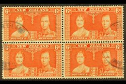"""1937  6d Red-orange Coronation Of New Zealand, A Fine Used Block Of Four Showing Two Part """"PITCAIRN ISLAND"""" Cds Cancels  - Stamps"""