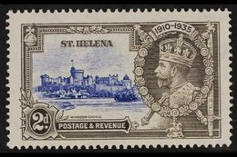 1935  2d Ultramarine And Grey Silver Jubilee, Diagonal Line By Turret, SG125f, Very Fine Mint. For More Images, Please  - Saint Helena Island